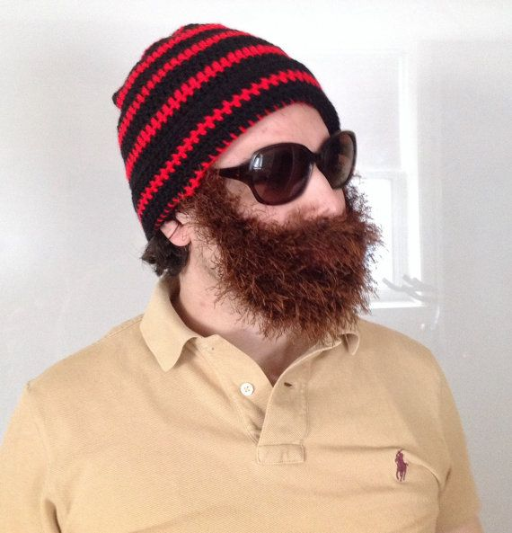 Handmade Crochet Beard hat beard beanie black hat by SueStitch #crochetedbeards