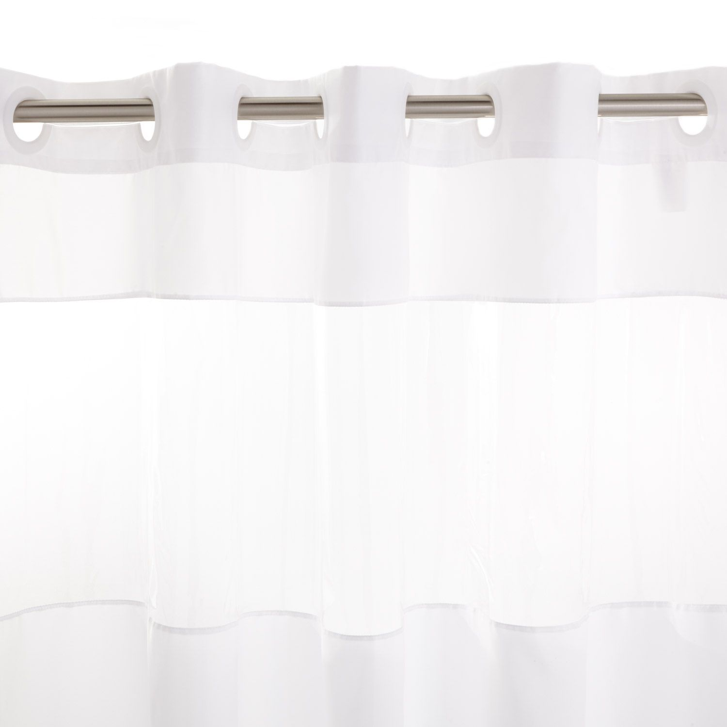 Hook Free Polyester Shower Curtain With Clear Panel