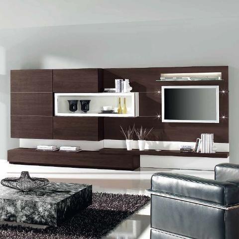 Conjunto de mueble de sal n en madera oscuro con detalle en blanco salones salones muebles - Salones con muebles oscuros ...