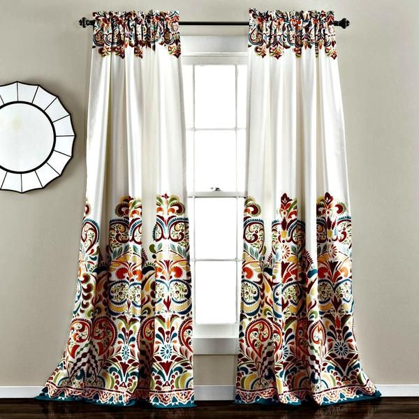 Lovely Sirina Boho Moroccan Paisley Floral Window Curtain Panel SET