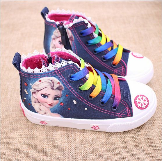 New fashion beauty Children s Shoes Girls Elsa Anna Cartoon Running Sneakers  Kids Flat Sneaker For Girls boots 492fc09a9773