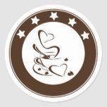 Cute Custom Color Coffee Love Steam Heart  Cookie Classic Round Sticker