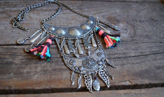 Boho collar necklace-Tassel necklace-Gypsy necklace-Feather necklace-Gypsy necklace-Summer necklace-Vintage inspired-Afgan necklace