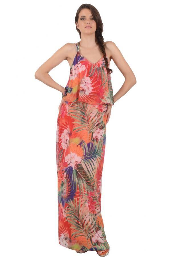 Φόρεμα εμπριμέ διαφάνεια μακρύ σε άνετη γραμμή με λάστιχο στην μέση και  χαμηλή πλάτη και χιαστή b8a6e5eb769