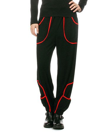 Look what I found on #zulily! Black & Red Contrast Harem Pants - Plus #zulilyfinds