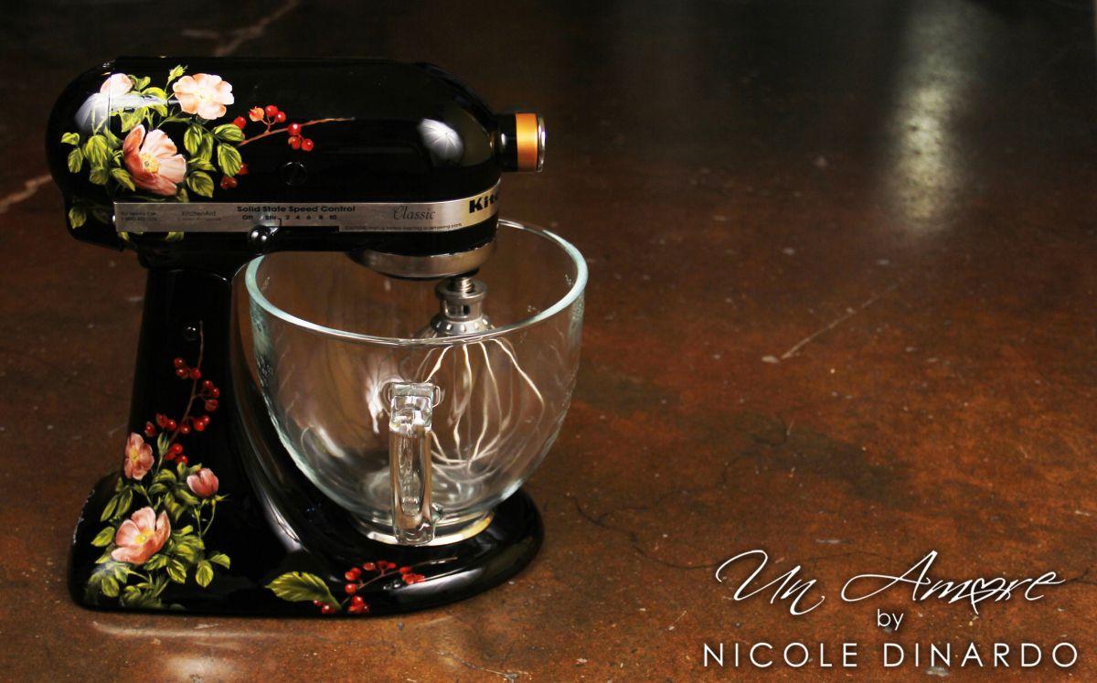 Outstanding Custom Painted Floral Kitchenaid On Black My Artwork Interior Design Ideas Gresisoteloinfo