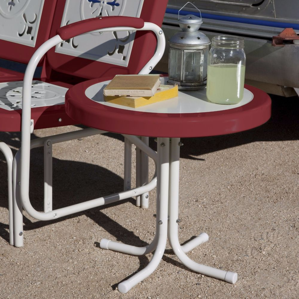 Retro Vintage Accent Table Red White Metal Outdoor Patio Furniture Lawn  Pool NEW #CoralCoast