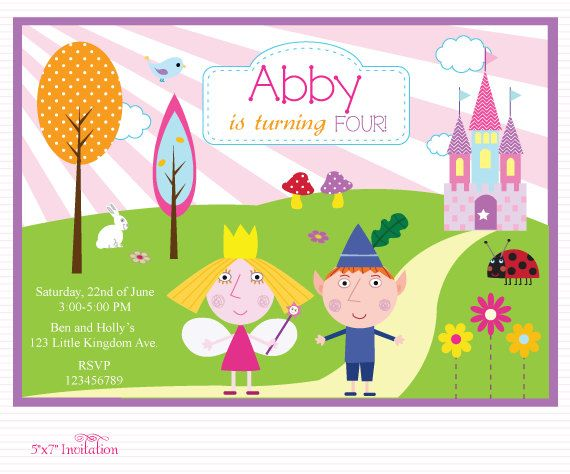 Customized Ben And Holly S Little Kingdom Digital Printable Birthday Invitation Ben And Holly Ben And Holly Party Ideas Printable Birthday Invitations