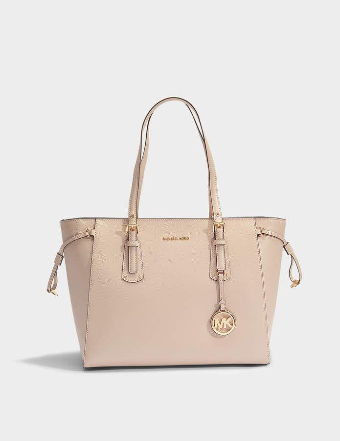 d61d419e8587 MICHAEL Michael Kors Voyager Medim Top Zip Tote Bag in Soft Pink Crossgrain  Leather