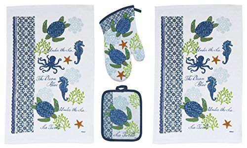 4 Piece Sea Turtle Kitchen Set Oven Mitts And Towels In 2019