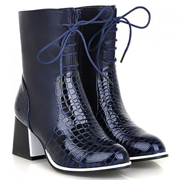 Women'S Boots Short Splicing And Lace Up