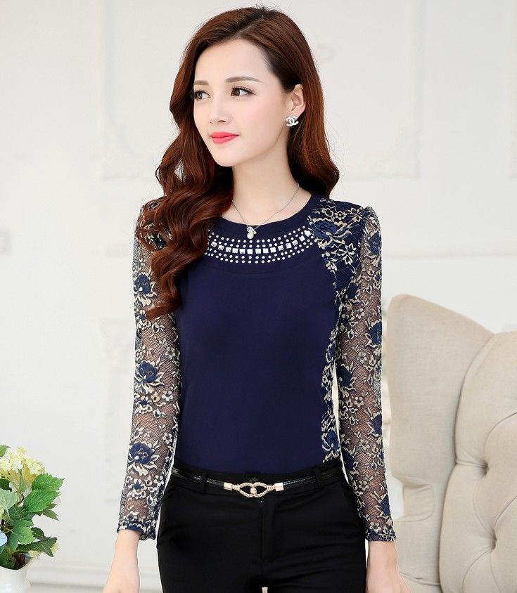 Women Stylish Long Sleeve T Shirt Lace Foral Patchwork Casual Tops Blouse Shirt