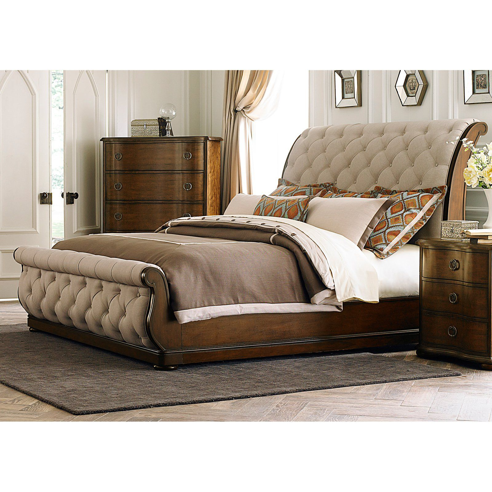 Best Liberty Furniture Cotswold Upholstered Sleigh Bed Size 640 x 480