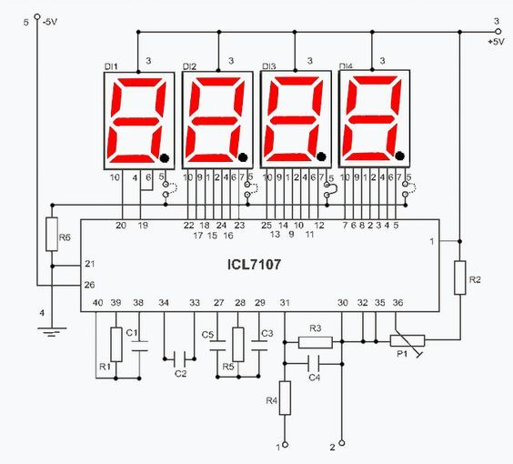 Digital Voltmeter Circuit Use Intersil Icl7107 R3 Value Change Scale P1 Adjust Voltmeter Co In 2020 Electronic Schematics Electronic Engineering Electronics Projects