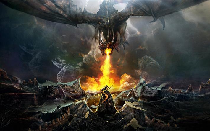 ダウンロード画像 龍vs武, 4k, 戦い, モンスター, 美術, 火, ドラゴン, 武者 Wallpaper