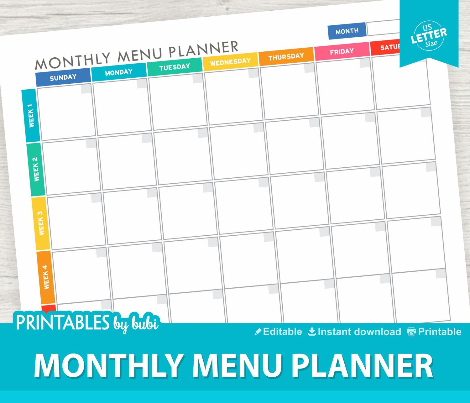 Monthly Meal Planner Printable  Editable  Instant Download Pdf
