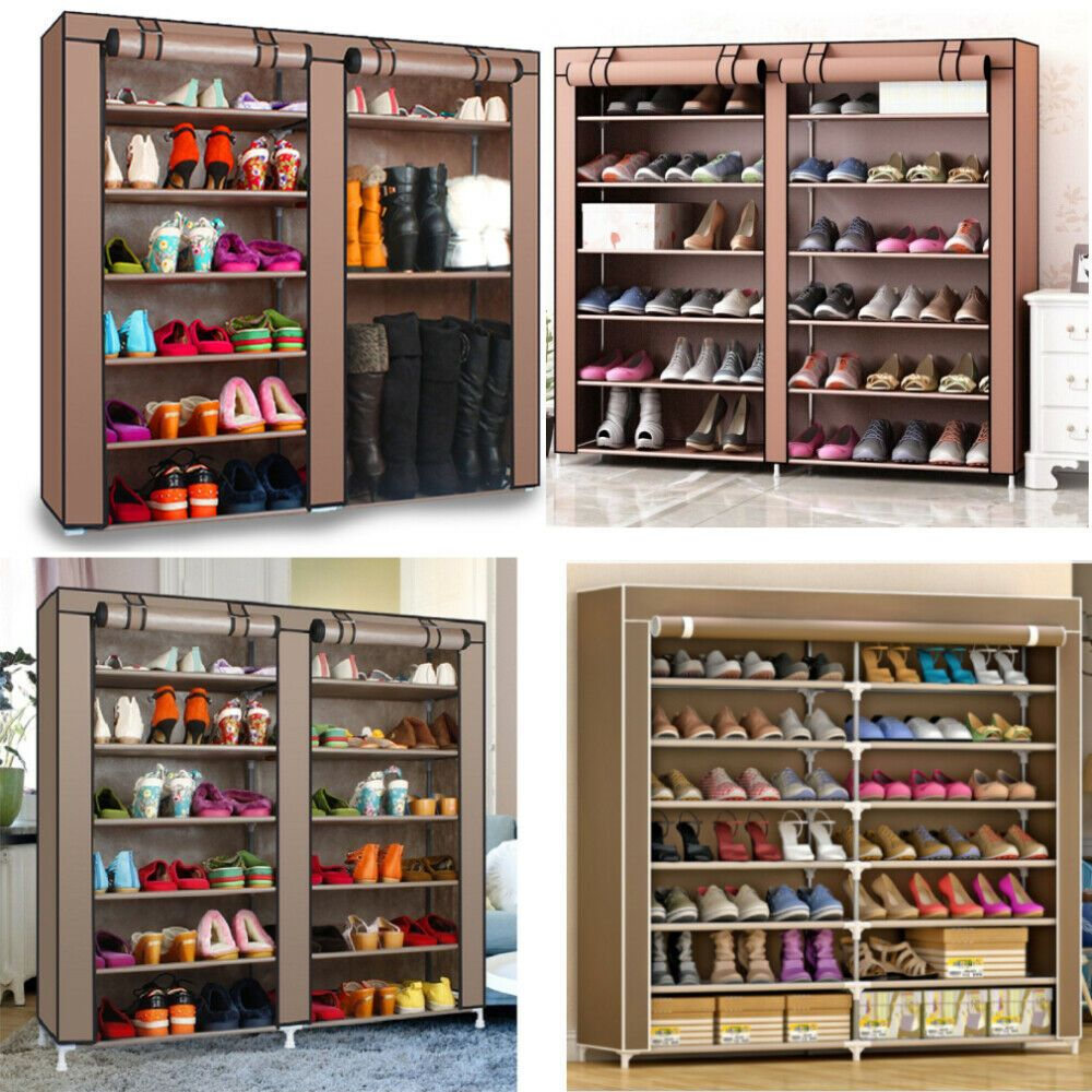 Details About Portable 12 Layers Double Shoes Rack Closet Shelf Storage Organizer Cabinet My In 2020 Storage Closet Shelving Shoe Rack Closet Cabinets Organization