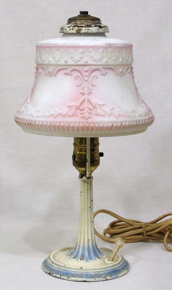 Vintage 1920s Table Lamp Embossed Pink, Vintage Pink Satin Glass Lamp
