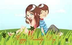 Happy Friendship Day With Cartoon Girl And Boy Hd Wallpaper Friendship Day Wallpaper Happy Friendship Day Friendship Wallpaper