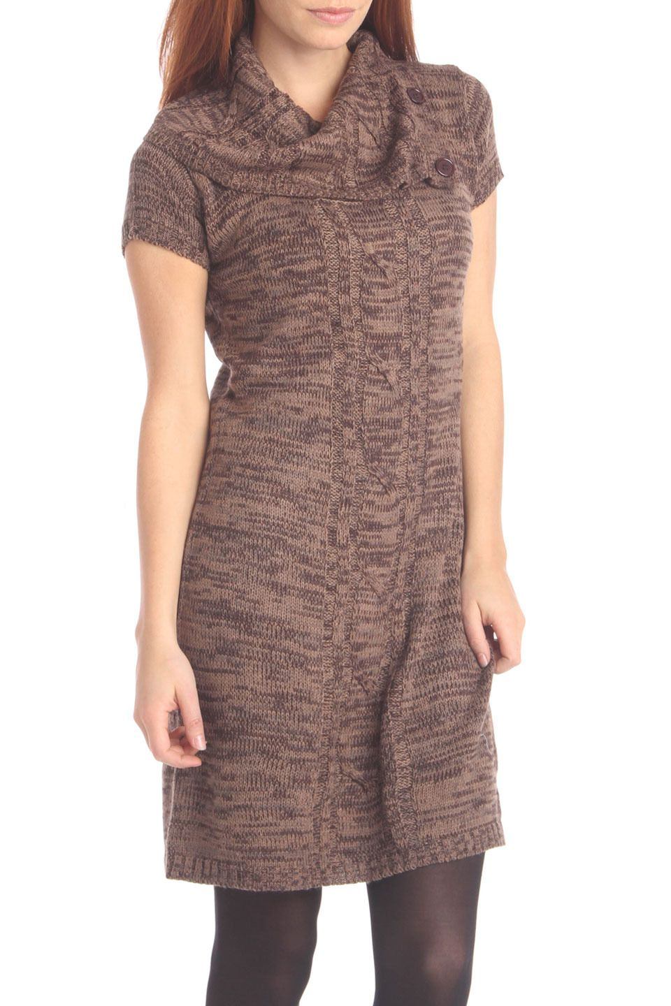 Cabled Sweater Dress In Brown.