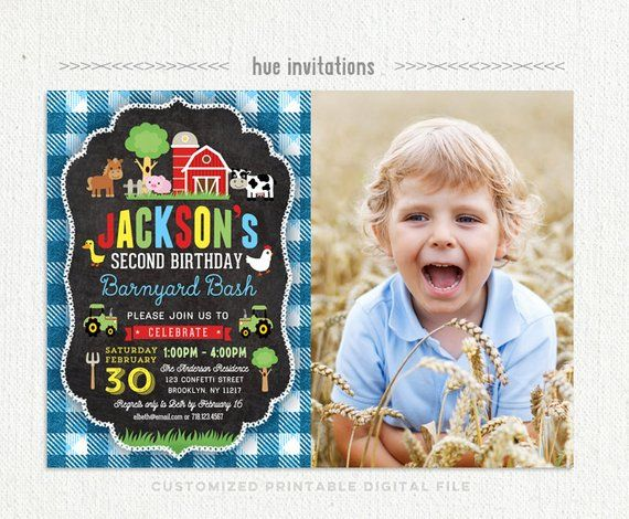Farm Birthday Invitation For Boys 2nd Barnyard Party With Photo Blue