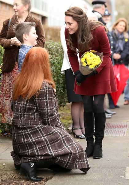 Catherine, Duchess of Cambridge arrives for her visit to MIST, a child and adolescent mental health project, part of Action for Children which supports vulnerable families in Wales and across the UK on February 22, 2017 in Pontypool, United Kingdom.