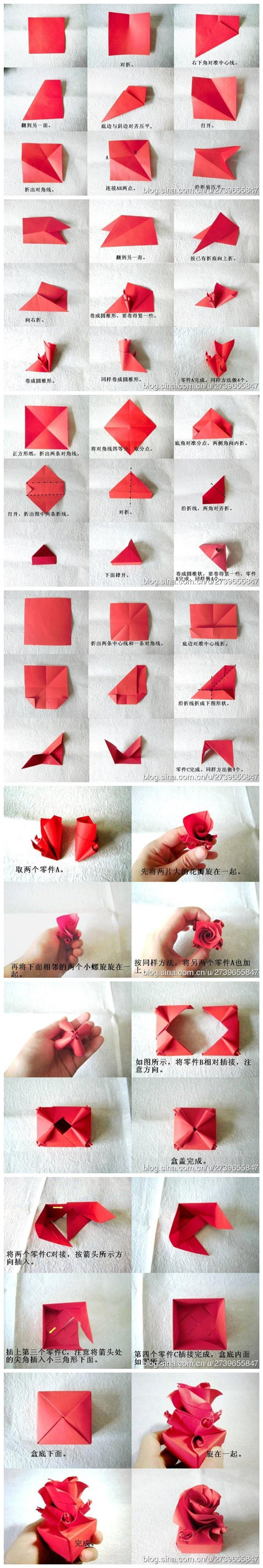 How to fold cute origami paper craft rose box for for How to make a paper rose origami