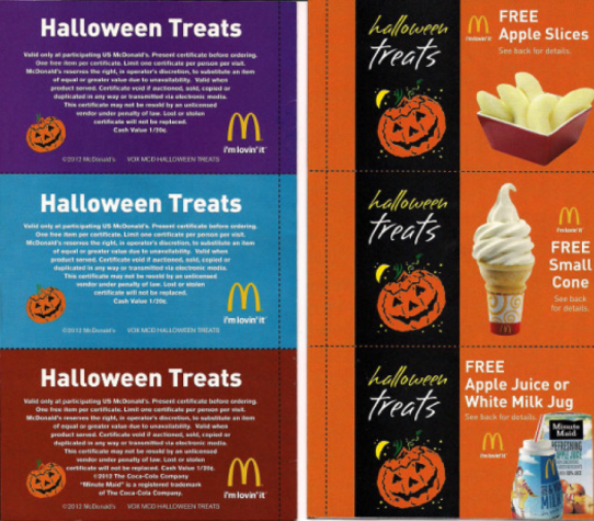 mcdonald's: halloween treats coupon booklet only $1 | halloween ...