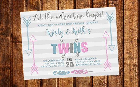 Twins Baby Shower Invitation Let The Adventure Begin