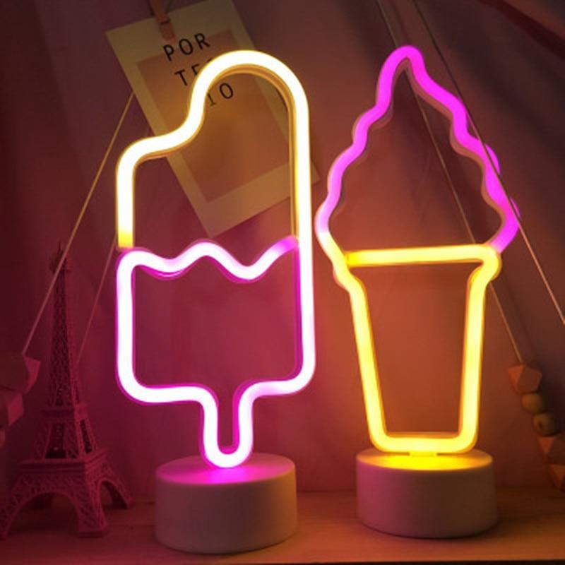 Ice Cream Led Neon Light Table Lamp Night Light Led Neon Lighting Neon Lighting Light Table