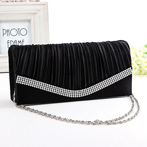 Womens Vintage Satin Pleated Envelope Evening Cocktail Wedding Party Handbag Clutch black * You can get additional details at the image link.Note:It is affiliate link to Amazon.