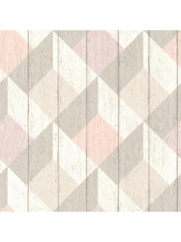 Papier Peint A Motif Cubes Rose Taupe Pastel Collection Unplugged