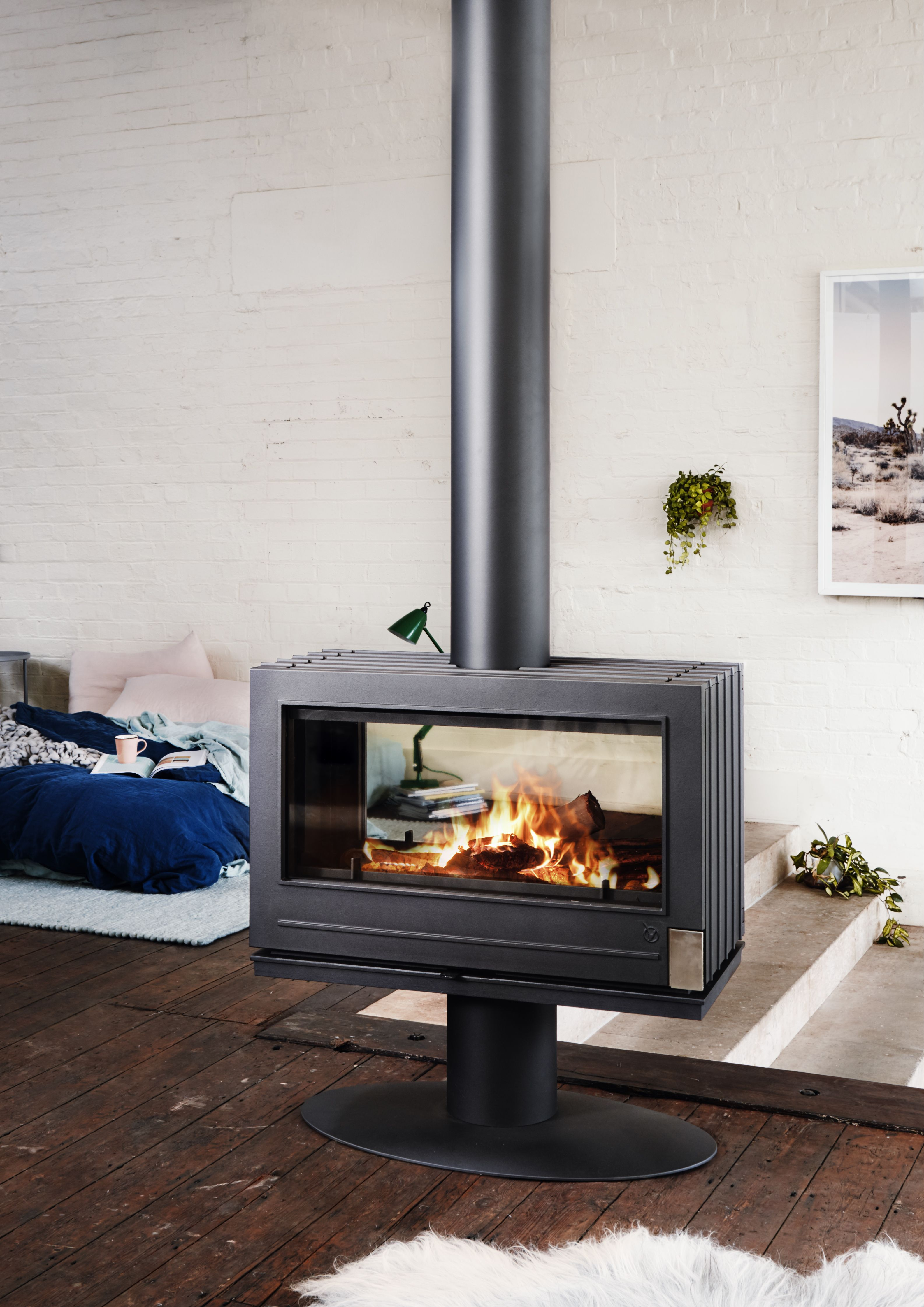 Nelson Double Sided Fireplace By Invicta Wood Heater Freestanding Fireplace Double Sided Fireplace