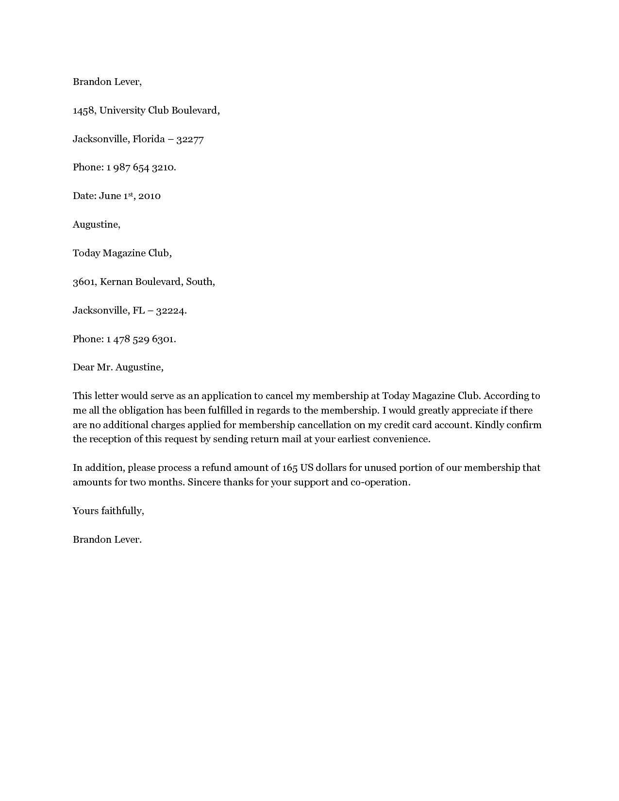 Cancellation Notice Letter Contract Service Sample Services
