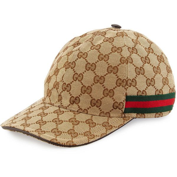 e9ead76e Gucci GG-Print Baseball Cap w/ Web Trim ($295) ❤ liked on Polyvore featuring  accessories, hats, nero, baseball caps hats, adjustable baseball hats, ...