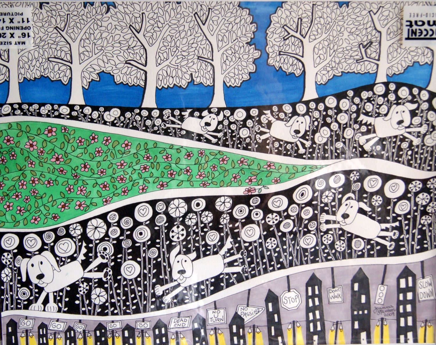 Pen and ink drawing on acid free paper. Colorful landscape with dog running. Whimsical and fun.. $89.00, via Etsy.