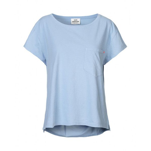 Simple T-Shirt - Light Blue (155 BRL) ❤ liked on Polyvore featuring tops, t-shirts, shirts, blue, short sleeve t shirt, cotton t shirts, short t shirt, short shirts and short sleeve tops