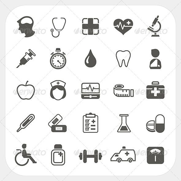 Medical and health Icons Set  #GraphicRiver