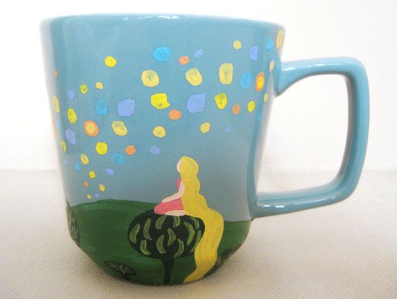 This mug is inspired by the lantern painting done by Rapunzel in the movie Tangled. It shows Rapunzel sitting on the tree tops and watching the