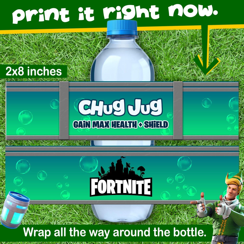 graphic about Chug Jug Printable called Fortnite Bottle / Chug jug / Fortnite printable / fortnite