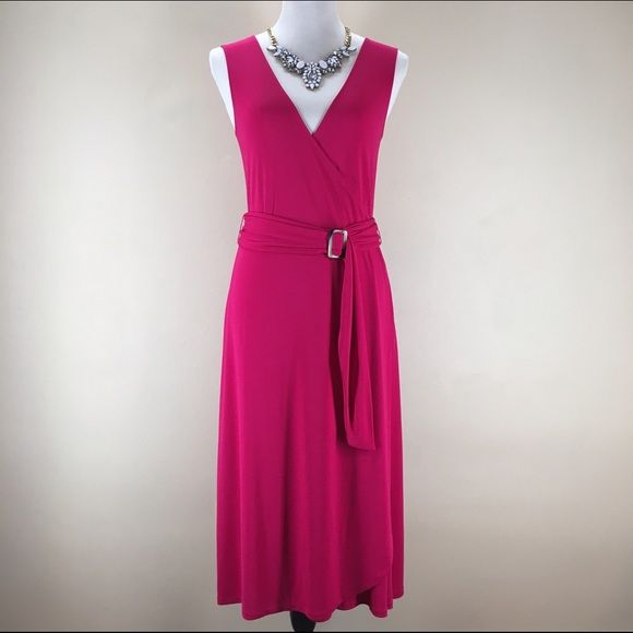 """Banana Republic Faux Wrap Dress Belted, sleeveless faux wrap dress in a bright Magenta. Stretchy material-super comfortable and versatile!  Excellent condition. Length from top of shoulder to hem: 45-46"""". Machine wash. 60% Rayon. 40% Polyester. Banana Republic Dresses"""