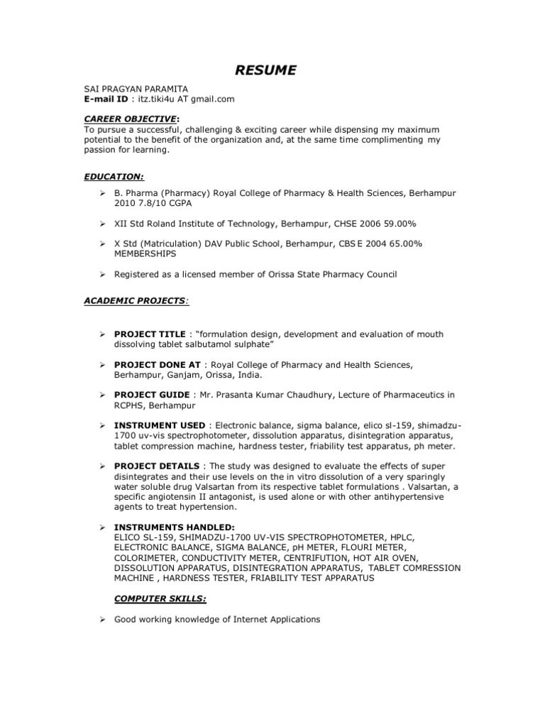 B Pharmacy Resume Format For Freshers Format Freshers