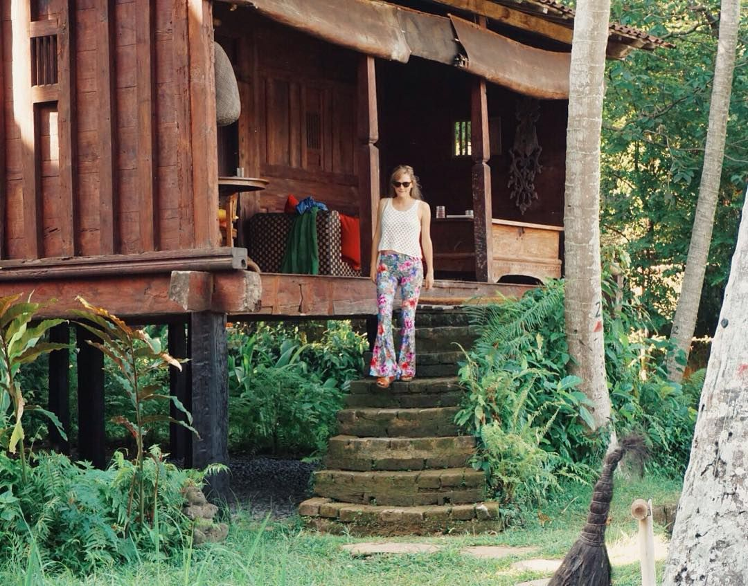 Take me back to the sunfilled jungle and antique huts of @bambuindah. Strolling on down to sip on cocktails & watch the magical sunset - what a dream it was!  Ft our Samaya flares available online via bio link.  #bambuindah #bambuindahexperience #holiday #huts #antique #bali #ubud #bohochic #gypset #bohemian #live #adventure #gypsy #gypsysoul #hippie #paradise #sun #sunset #vacation #beauty #nature #jungle #flares #flarestreet #bells #bellbottoms