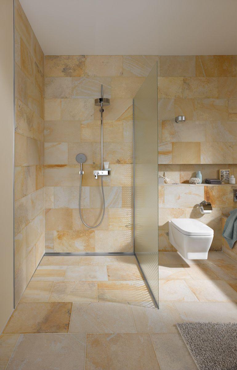 Solnhofer Bahnen im Bad  Badezimmer  Badezimmer Offene duschen und Fliesen flur