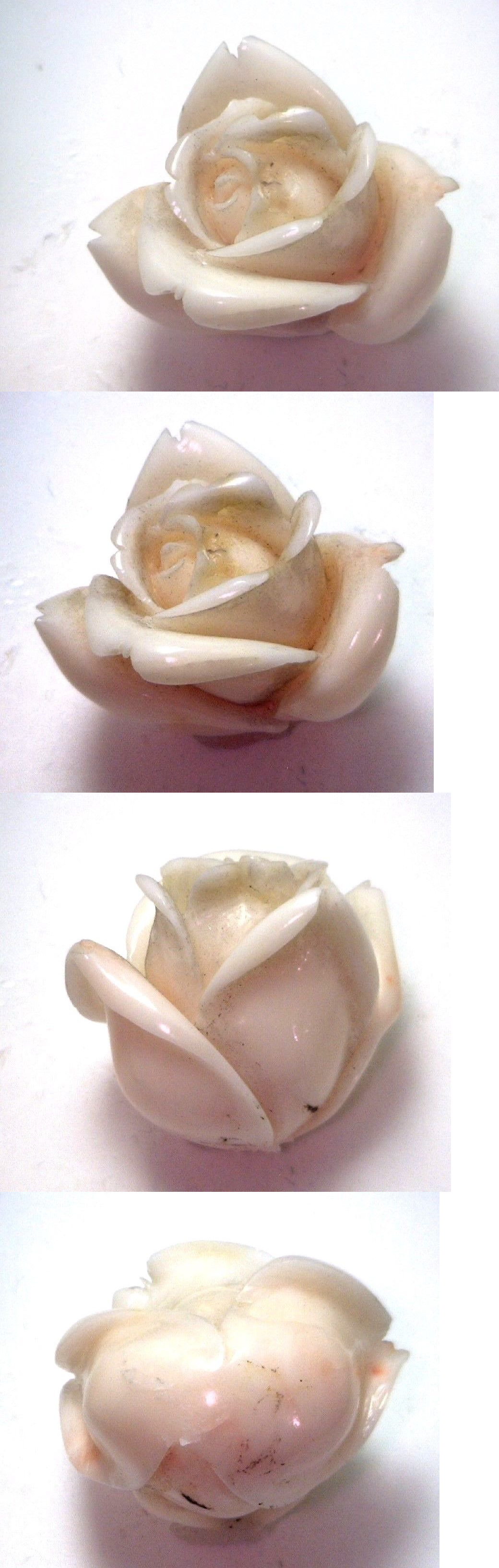 Coral 110793: Nos Antique Genuine Undyed Carved Coral Natural Huge Rose Flower Stone #Ok59 BUY IT NOW ONLY: $399.99