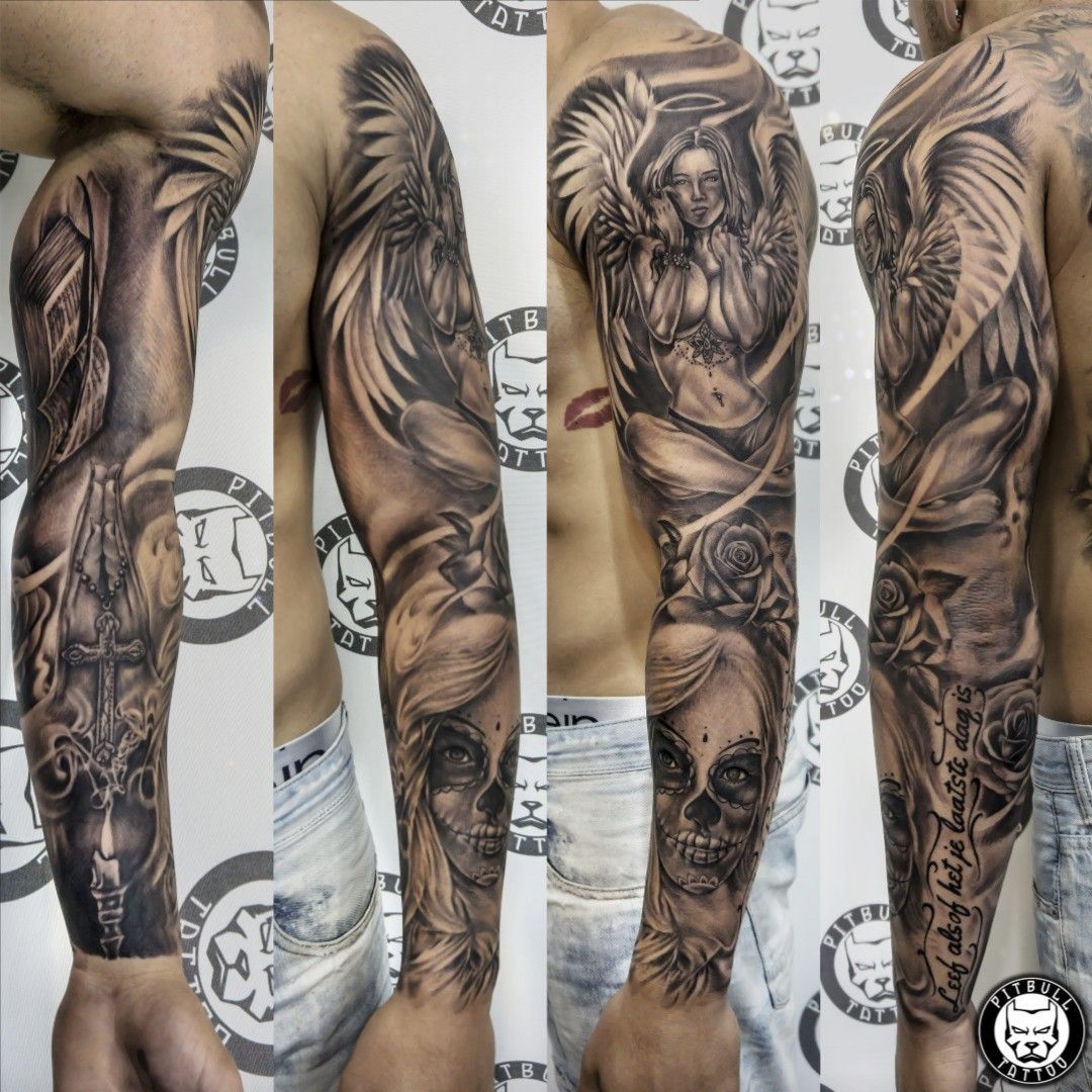 Realistic full arm sleeve. Black & Grey Style. #realistic #realism #blackandgrey #blackandwhite #armsleeve #sleeve #fullsleeve #patong #phuket #thailand | By Pitbull Tattoo Patong Phuket Thailand | Done at Pitbull Tattoo Thailand | Jan 19th 2019 | 835990