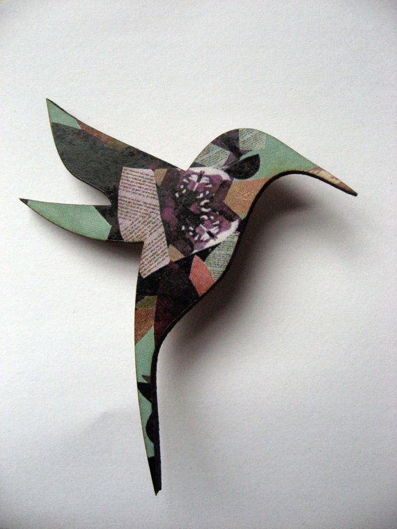 Beautiful patterned laser cut Hummingbird brooch by MicaPeet, £7.00
