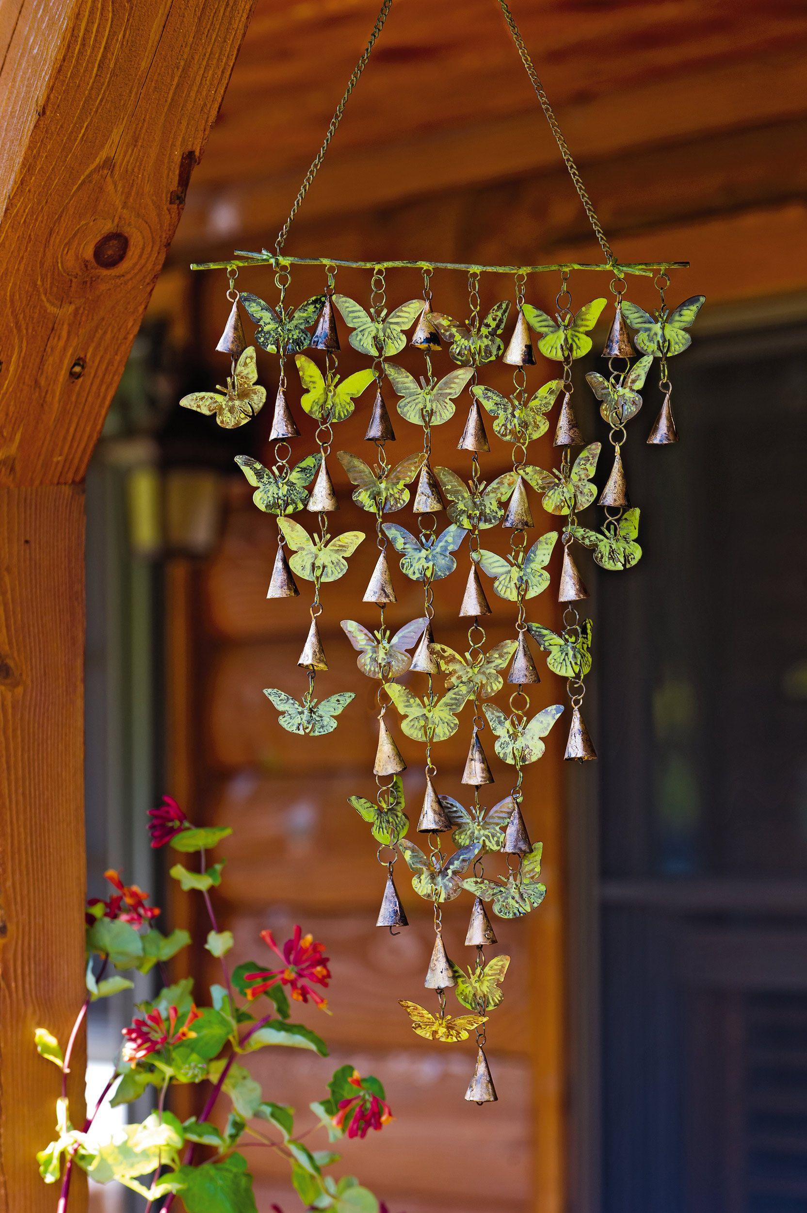 Butterfly bell wind chimes windchimes gardeners supply