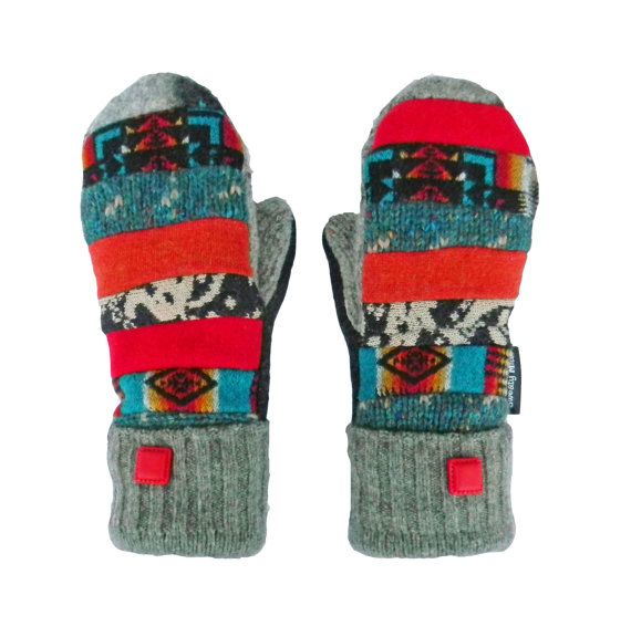 Patchwork Wool Mittens Colorful Recycled Mittens by SweatyMitts