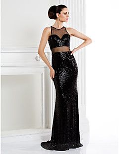 TS Couture® Formal Evening Dress - Black Trumpet/Mermaid Jewel Sweep/Brush Train Sequined